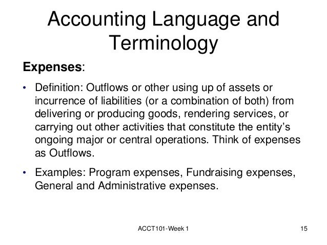 ACCT101 Week 1 14; 15. Accounting Language And Terminology Expenses: U2022  Definition: ...