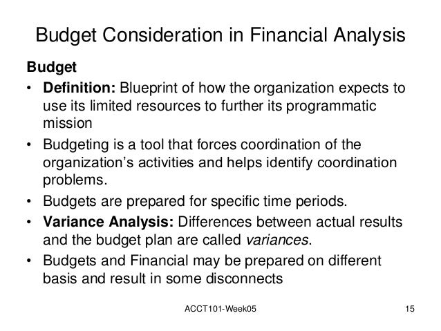 Week 05 powerpoint acct1018wonline budget consideration in financial analysis budget definition blueprint malvernweather Images