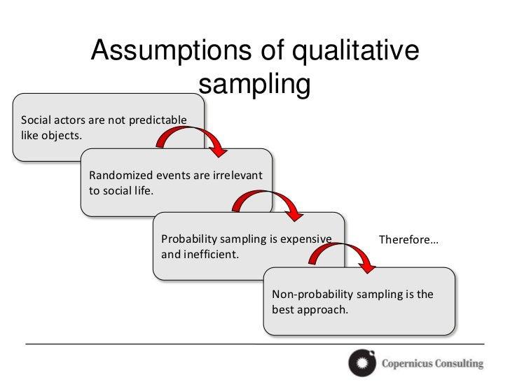 Assumptions of qualitative                    samplingSocial actors are not predictablelike objects.             Randomize...