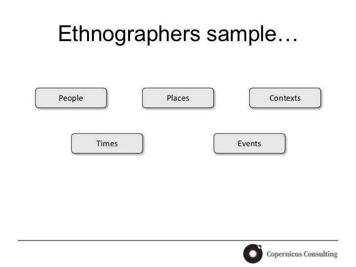 Ethnographers sample…People           Places            Contexts         Times            Events