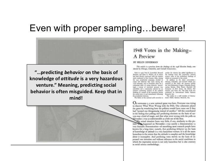 "Even with proper sampling…beware!  ""…predicting behavior on the basis ofknowledge of attitude is a very hazardous   ventur..."