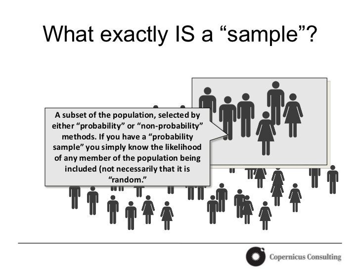 """What exactly IS a """"sample""""? A subset of the population, selected byeither """"probability"""" or """"non-probability""""   methods. If..."""
