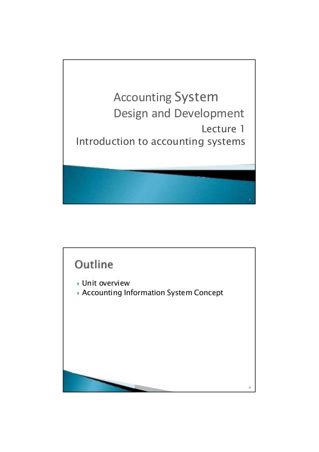  Unit overview  Accounting Information System Concept 2 Lecture 1 Introduction to accounting systems 1 Accounting Syste...