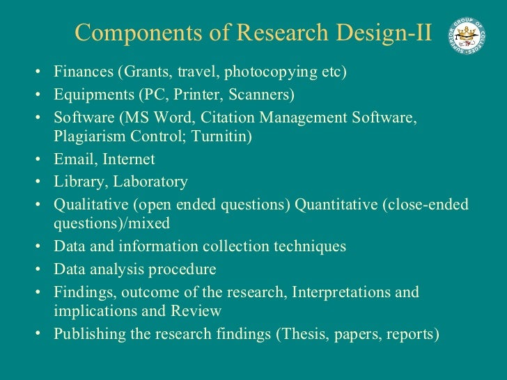 Major components Of a Research proposal, Major.