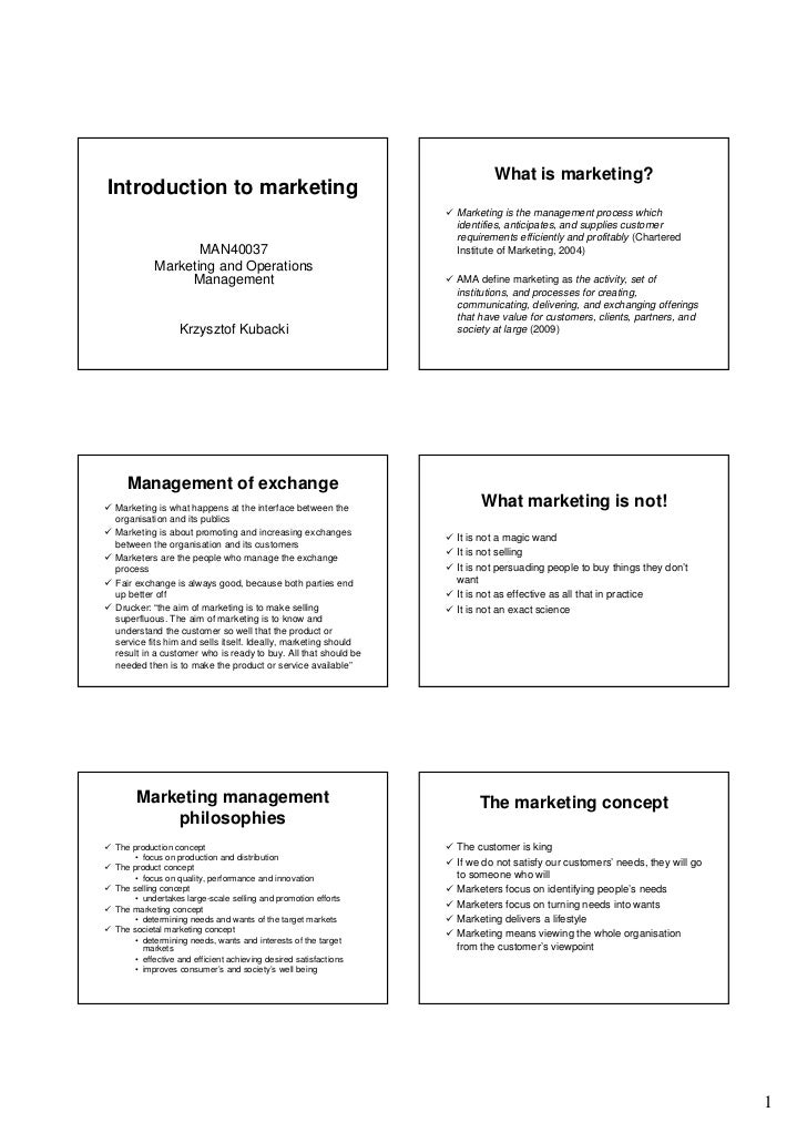 introductory marketing Start studying intro to marketing exam 1 learn vocabulary, terms, and more with flashcards, games, and other study tools.