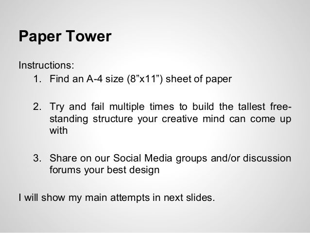 Paper Tower Instructions 1