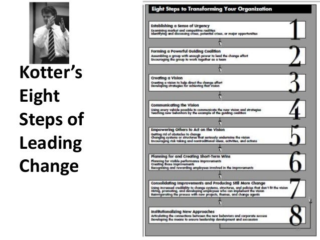 """kotter 8 steps leading change John kotter (1996), a harvard business school professor and a renowned change expert, in his book """"leading change"""", introduced 8 step model of change which he developed on the basis of research of 100 organizations which were going through a process of change the 8 steps in the process of ."""