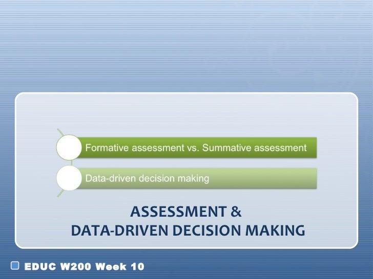 ASSESSMENT &      DATA-DRIVEN DECISION MAKINGEDUC W200 Week 10