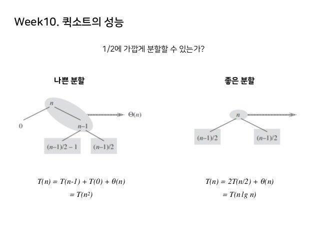 Week10. 퀵소트의 성능 1/2에 가깝게 분할할 수 있는가? 나쁜 분할 좋은 분할 T(n) = T(n-1) + T(0) + θ(n) = T(n2) T(n) = 2T(n/2) + θ(n) = T(n lg n)