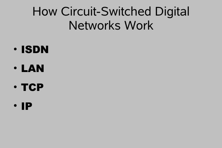 How Circuit-Switched Digital           Networks Work ●     ISDN ●     LAN ●     TCP ●     IP