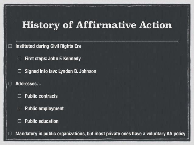 An introduction to the affirmative action in the law of john f kennedy