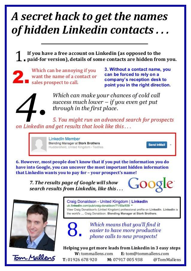 A  secret  hack  to  get  the  names   of  hidden  Linkedin  contacts  .  .  .          ...