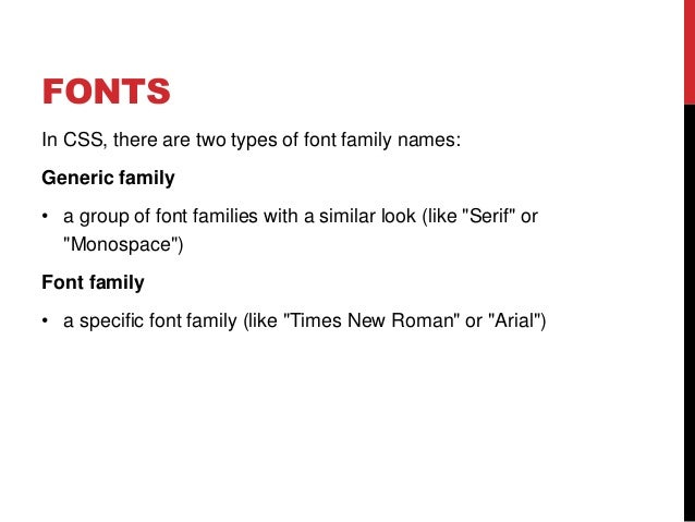 Week 12 CSS Font - family