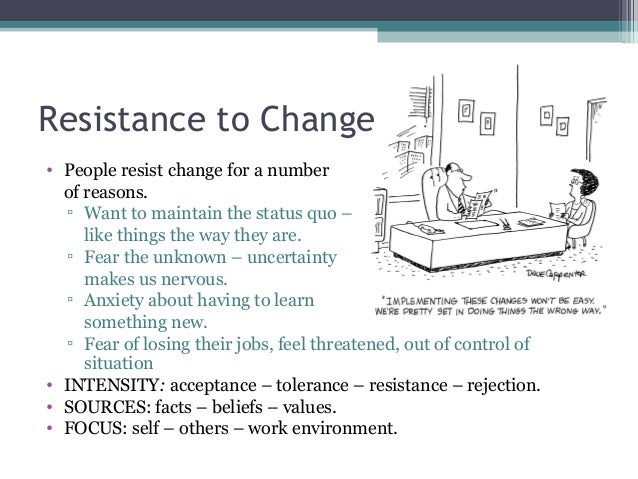 resistance to change paper essay Organizational change is the management of realigning an organization to meet the changing demands of its business environment, including improving service delivery and capitalizing on business opportunities, underpinned by business process improvement and technologies.