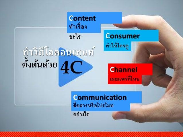 Channel เผยแพร่ที่ไหน Content ทำเรื่อง อะไร Communication สื่อสำรหรือโปรโมท อย่ำงไร Consumer ทำให้ใครดู