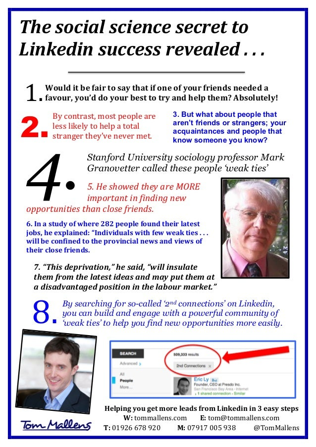 The  social  science  secret  to   Linkedin  success  revealed  .  .  .                Wou...