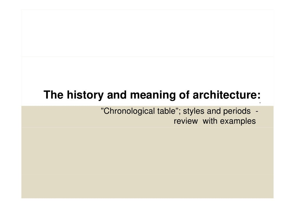"The history and meaning of architecture:                                                        ""          ""Chronological ..."