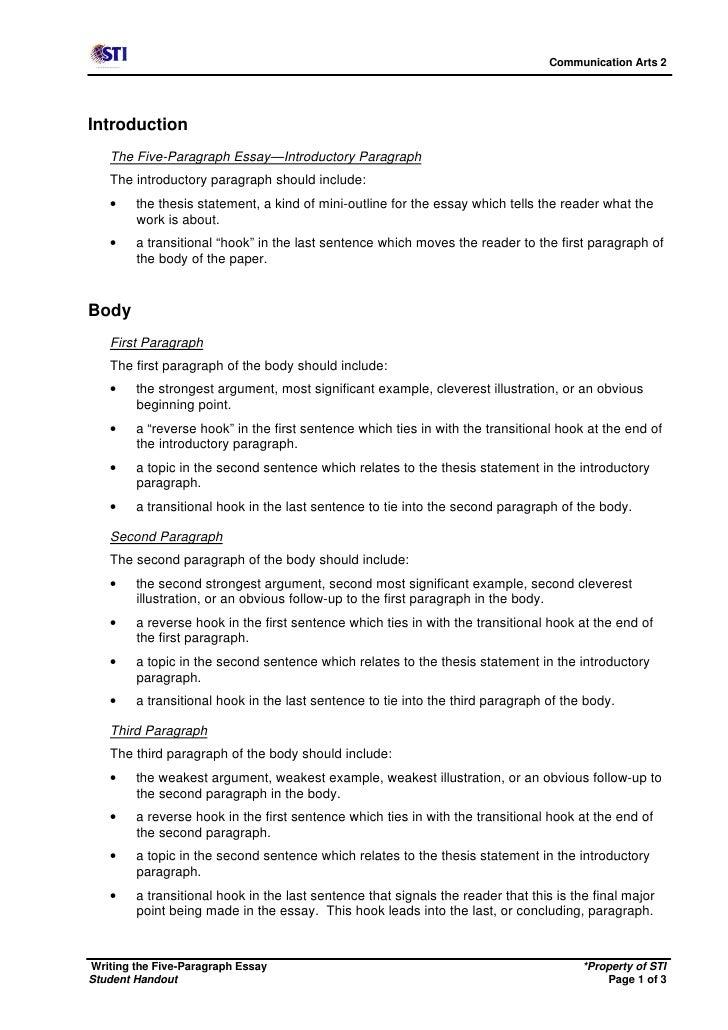 essay handout