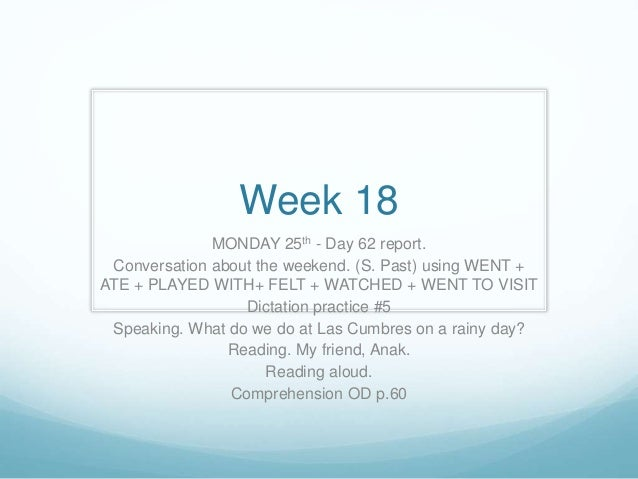 Week 18 MONDAY 25th - Day 62 report. Conversation about the weekend. (S. Past) using WENT + ATE + PLAYED WITH+ FELT + WATC...