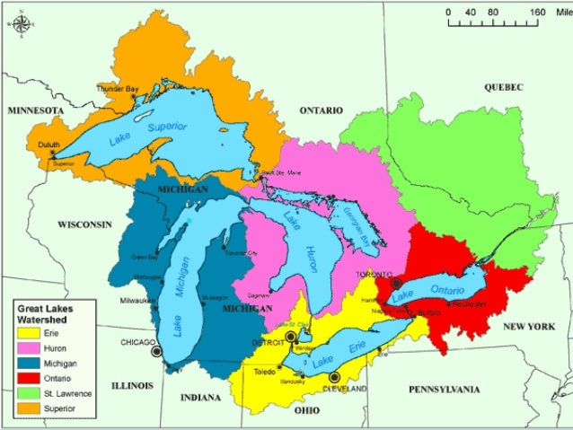 Week Day Unit Canada Physical Features - The great lakes on us and canada map