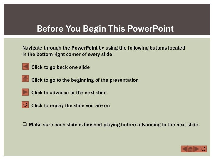 Before You Begin This PowerPointNavigate through the PowerPoint by using the following buttons locatedin the bottom right ...