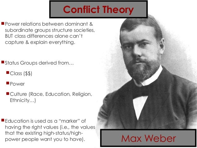 marx and weber conflicting conflict theories Conflict theory and educational stratification marx, weber, and simmel, conflict theory as a generates conflicts with different classes in the.