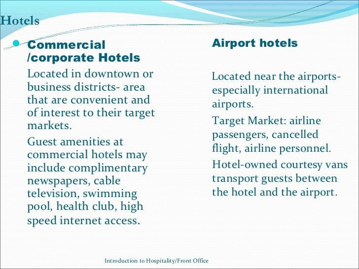 Hotels  Commercial                                                  Airport hotels    /corporate Hotels    Located in dow...