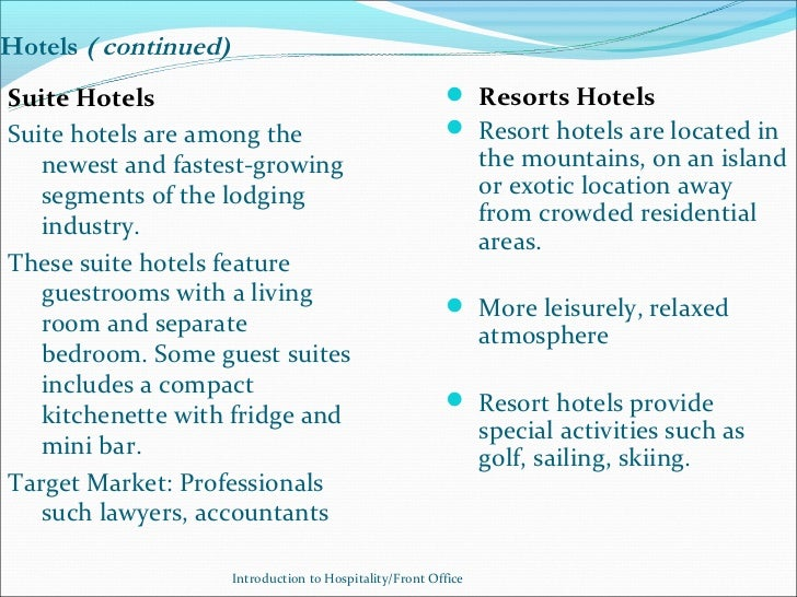 Hotels ( continued)Suite Hotels                                               Resorts HotelsSuite hotels are among the   ...