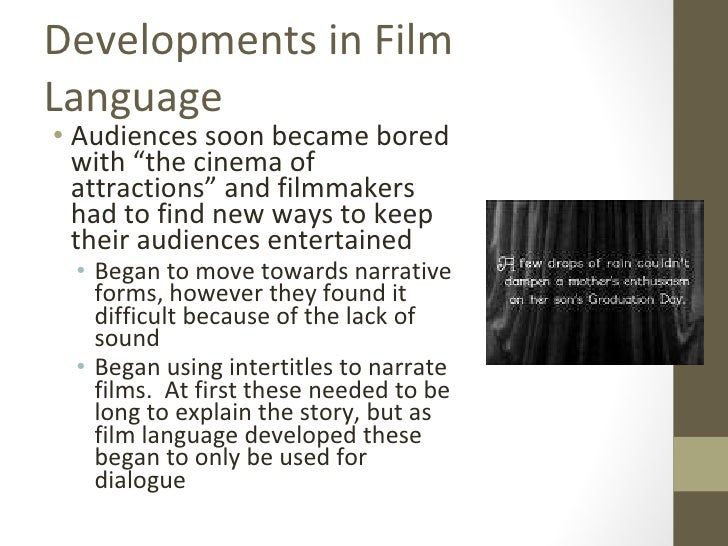 language of cinema What makes a film a film what really makes it unique and separate from novels, plays, photos, and radio here, i want to show you one of the most subtle tools of.