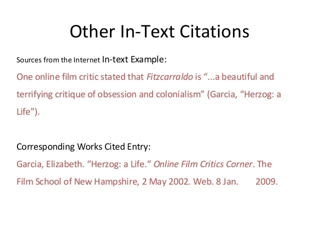 in text citation mla movie