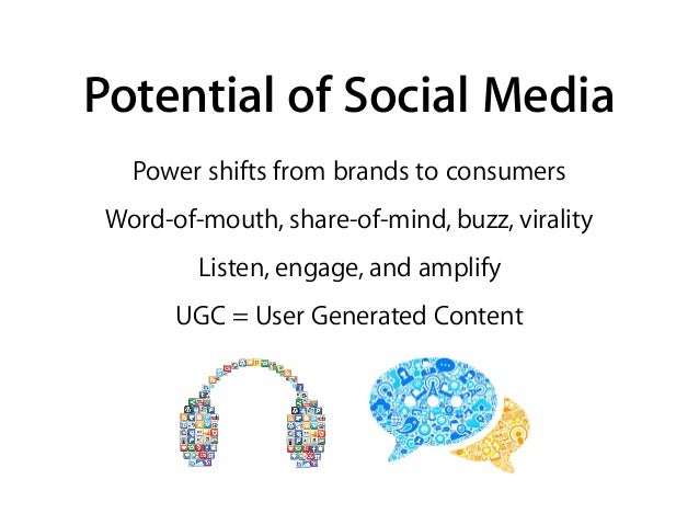 Potential of Social Media Power shifts from brands to consumers Word-of-mouth, share-of-mind, buzz, virality Listen, engag...