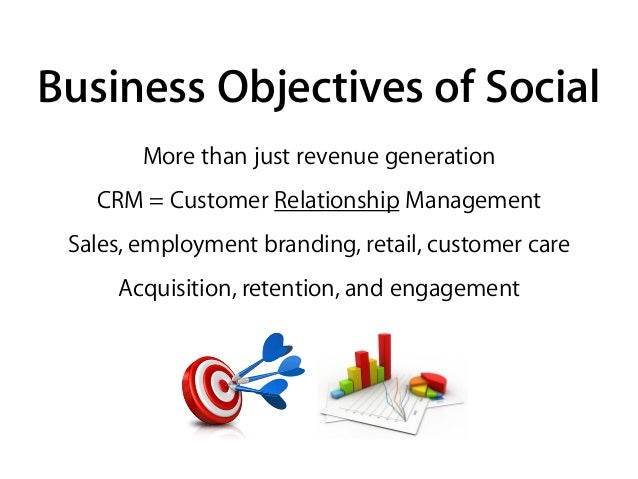 Business Objectives of Social More than just revenue generation CRM = Customer Relationship Management Sales, employment b...