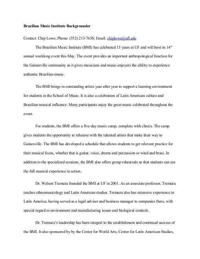 BMI Sample Backgrounder Fact Sheet – Sample Fact Sheet