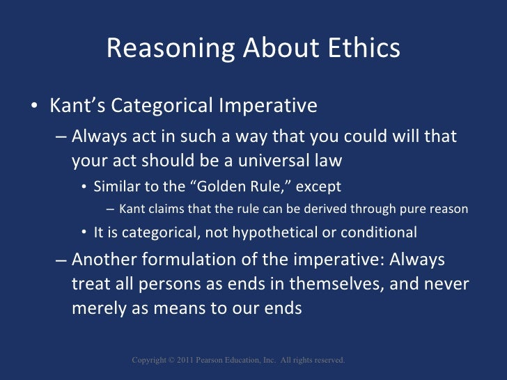 kant's categorical imperative and the golden I also notice that the section about the golden rule is completely uncited this is supposed to be an npov discussion of kant's categorical imperative, not a discussion based on an assumed acceptance of kant's categorical imperative so.