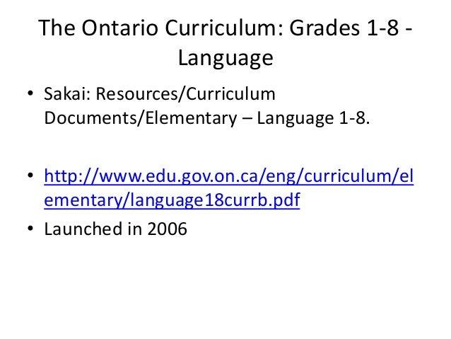 Week 2 ontario curriculum