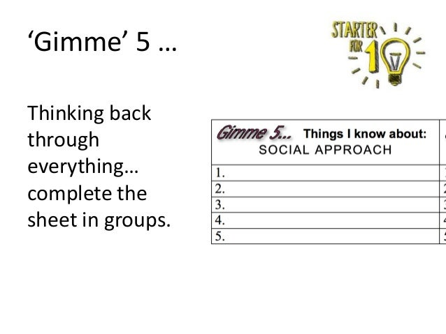 'Gimme' 5 … Thinking back through everything… complete the sheet in groups.