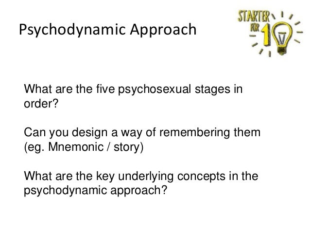 Psychodynamic Approach  What are the five psychosexual stages in order? Can you design a way of remembering them (eg. Mnem...