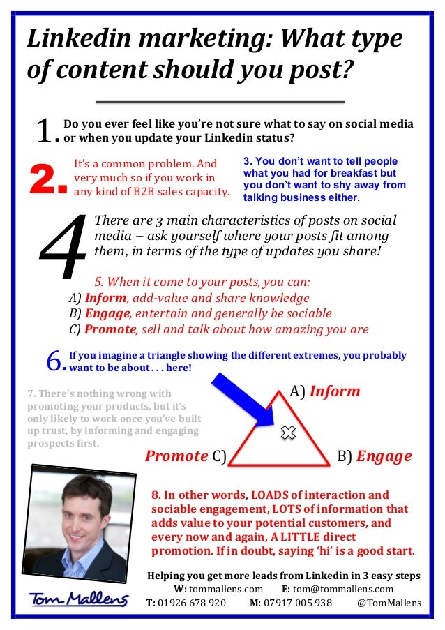 Linkedin  marketing:  What  type   of  content  should  you  post?            Do  you  ever  ...