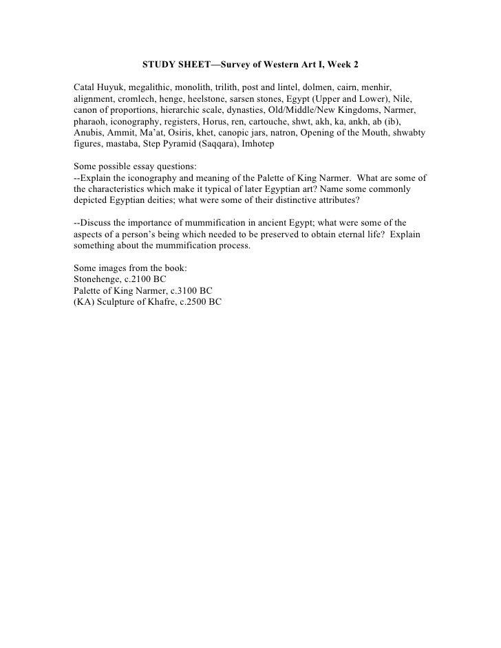 STUDY SHEET—Survey of Western Art I, Week 2Catal Huyuk, megalithic, monolith, trilith, post and lintel, dolmen, cairn, men...