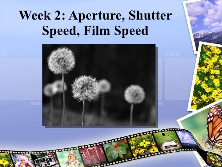 Week 2: Aperture, Shutter Speed, Film Speed Joel Kinison