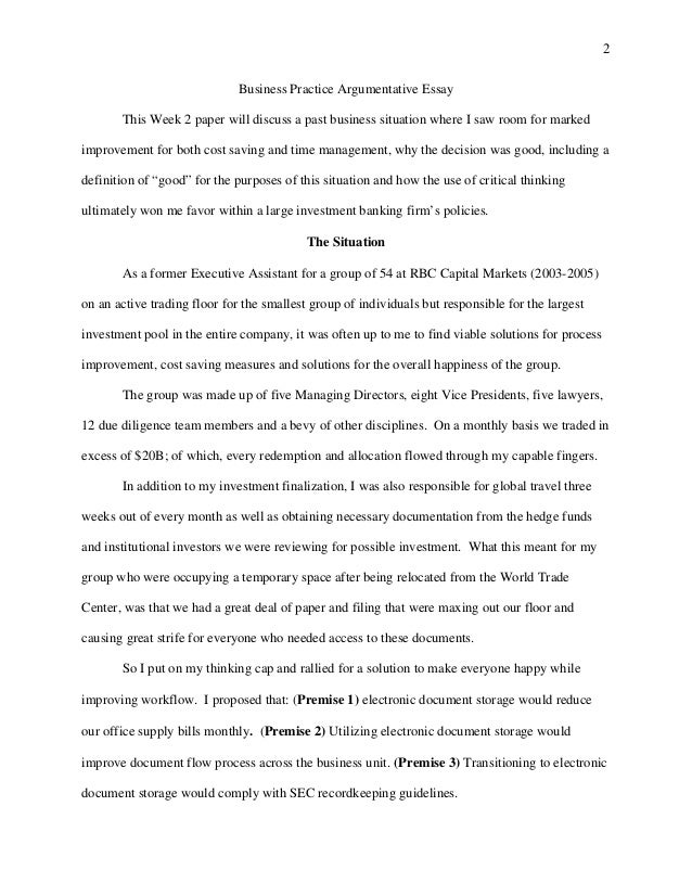 Week  Argumentative Essay   Todd Goodling   Business Practice Argumentative Essay  Secondary School English Essay also Important Of English Language Essay  Thesis Statement Examples For Argumentative Essays
