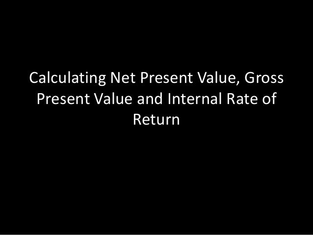 Calculating Net Present Value, Gross Present Value and Internal Rate of Return