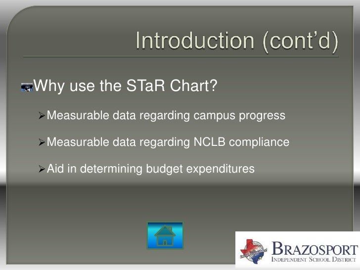 Why use the STaR Chart?  Measurable data regarding campus progress   Measurable data regarding NCLB compliance   Aid in...