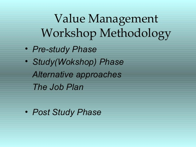 value management job plan