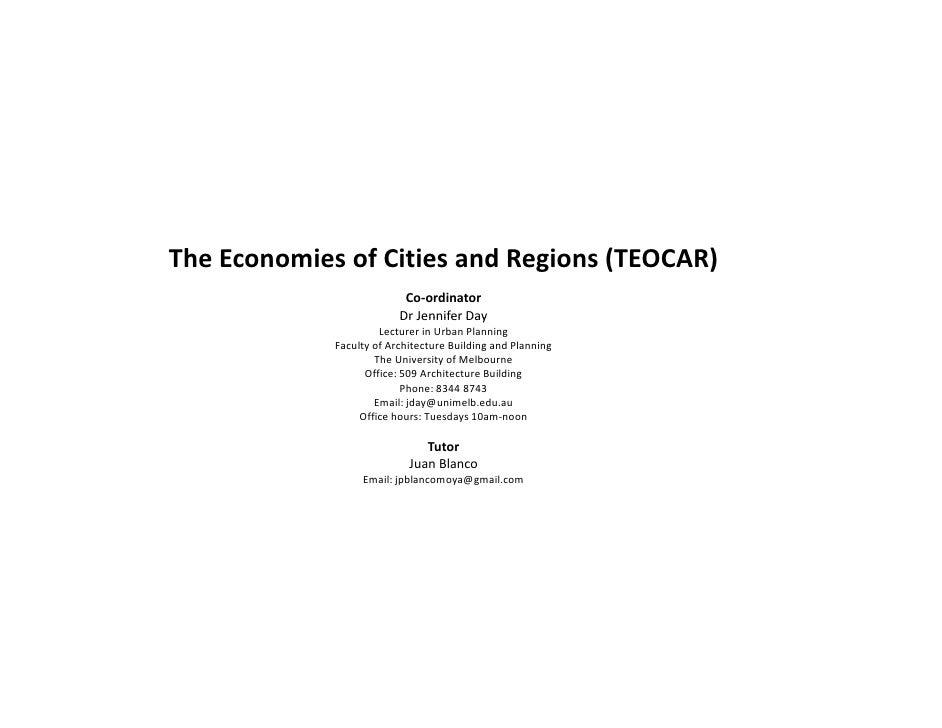 TheEconomiesofCitiesandRegions(TEOCAR)                            Co‐ordinator                           DrJennifer...