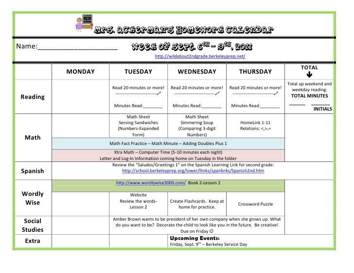 Mrs. Ackerman's Homework CalendarName:____________________             Week of Sept. 6th – 9th, 2011                      ...