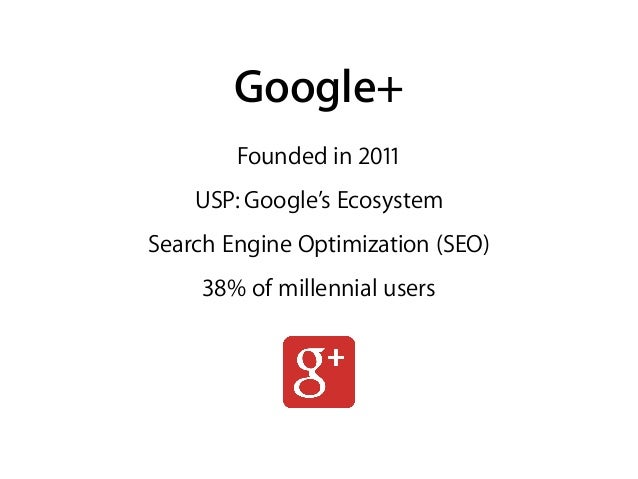 Founded in 2011 USP: Google's Ecosystem Search Engine Optimization (SEO) 38% of millennial users Google+