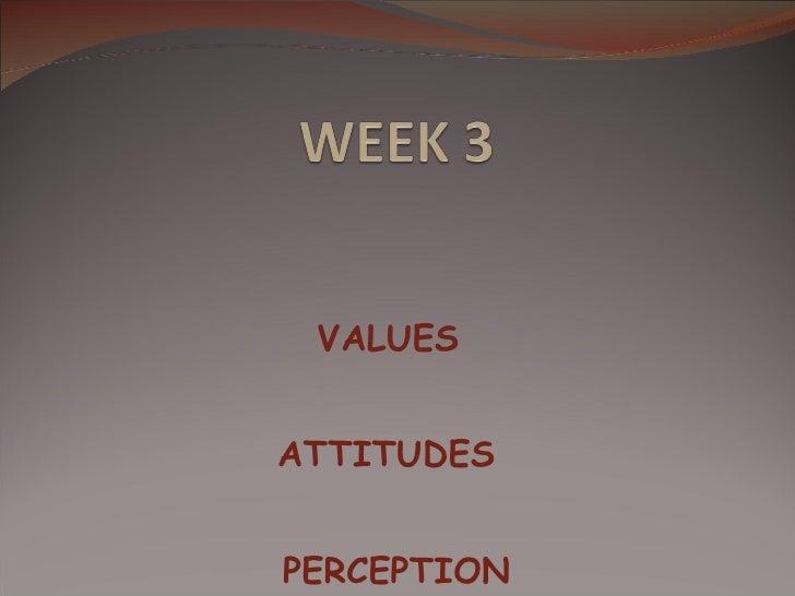 VALUES ATTITUDES  PERCEPTION