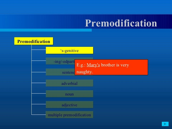 noun phrase premodification by participles Investigating cross-linguistic constraints on adjectival and adverbial premodification  adjectival past participle plus noun phrases 3)  only by adding premodification can phrases such as.