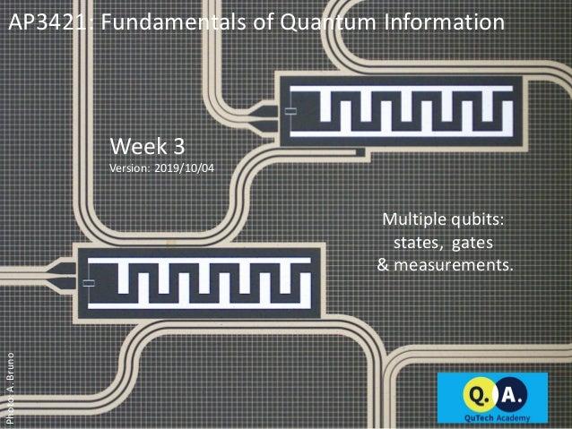 AP3421: Fundamentals of Quantum Information Week 3 Version: 2019/10/04 Multiple qubits: states, gates & measurements. Phot...